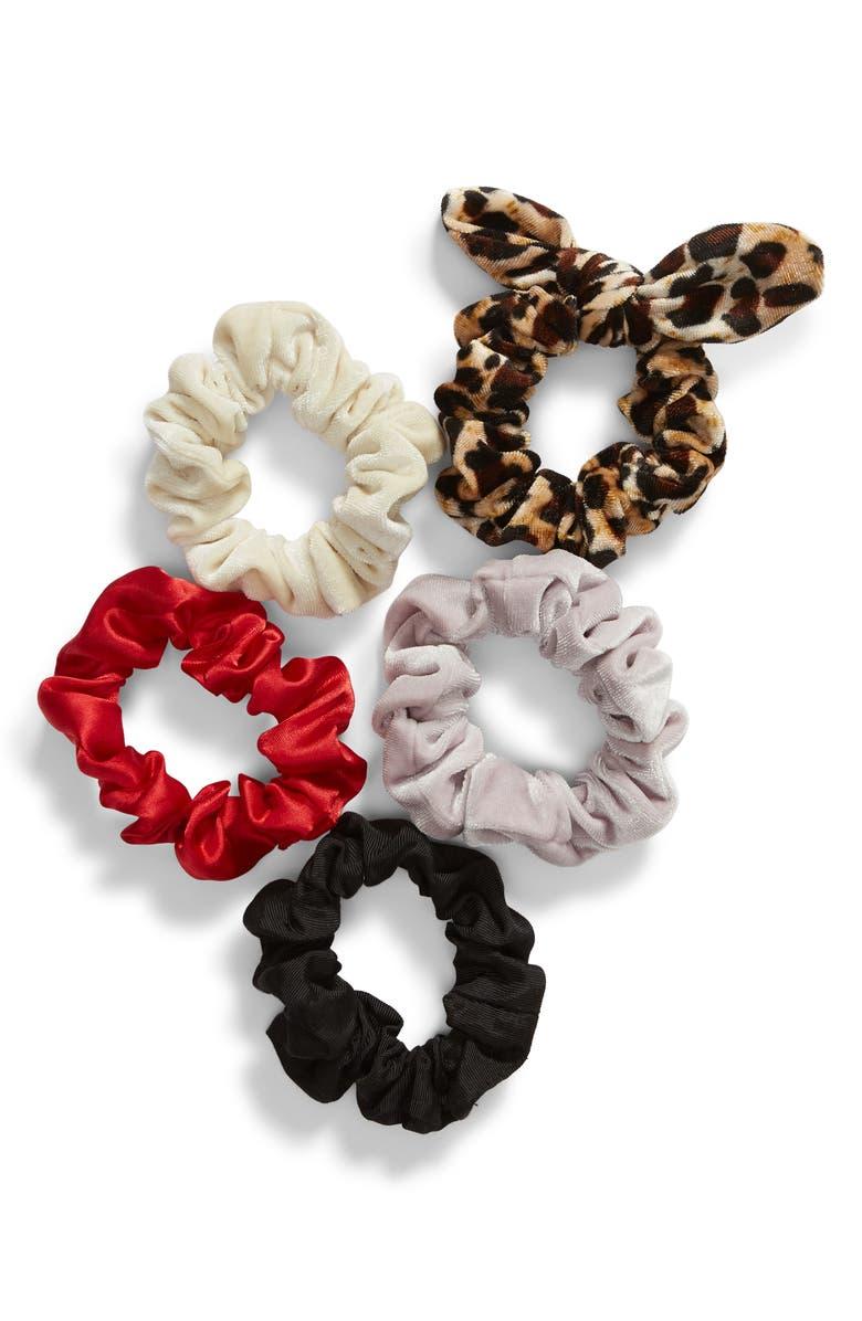 BP. x Claudia Sulewski 5-Pack Velvet Scrunchies, Main, color, 260