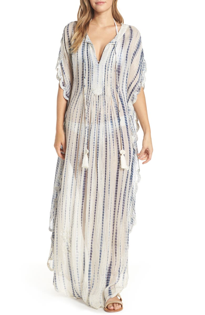 HEMANT & NANDITA Cover-Up Caftan, Main, color, WHITE/ BLUE
