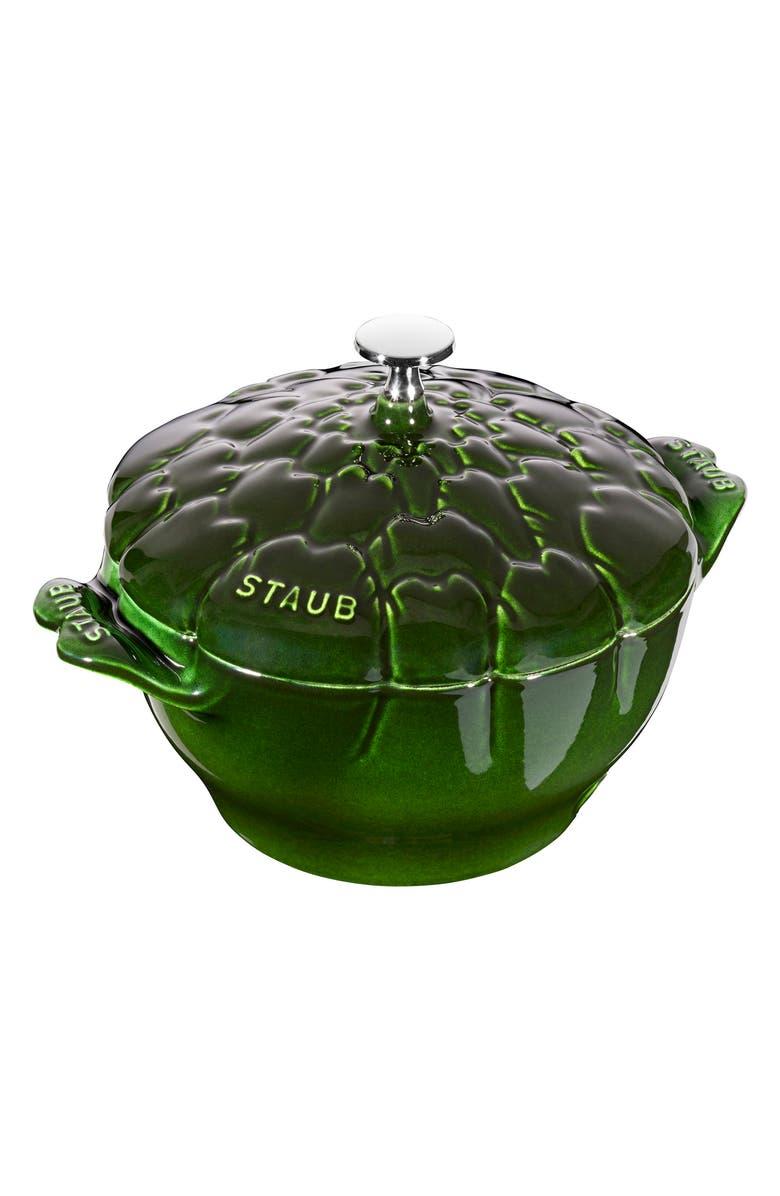 STAUB 3-Quart Artichoke Enameled Cast Iron Cocotte, Main, color, 300
