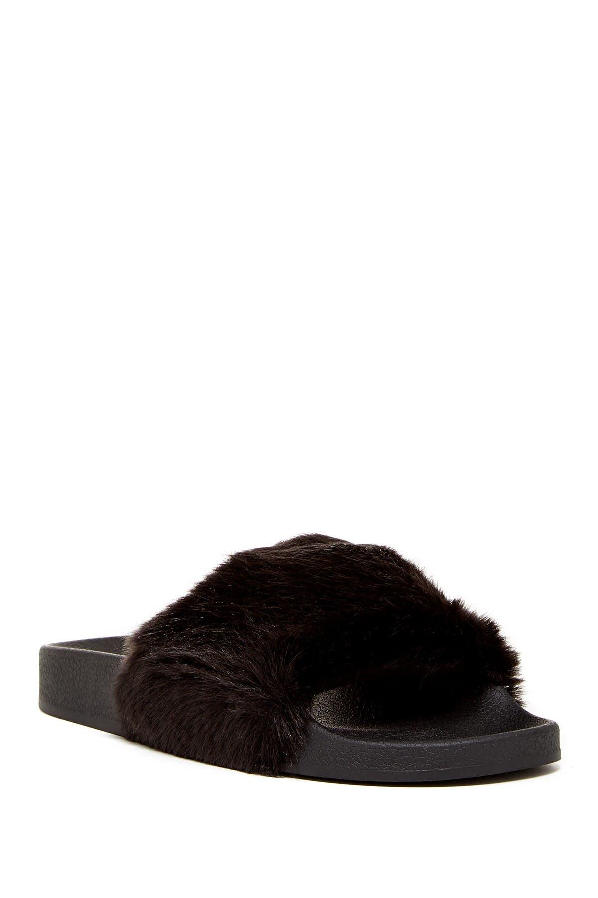 Image of Jeffrey Campbell Follow Me Faux Fur Slide Sandal