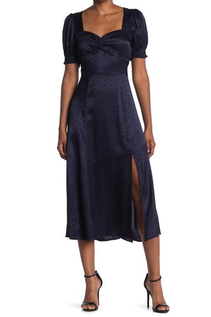 Image of Maisie Morton Chevron Puff Sleeve Satin Midi Dress