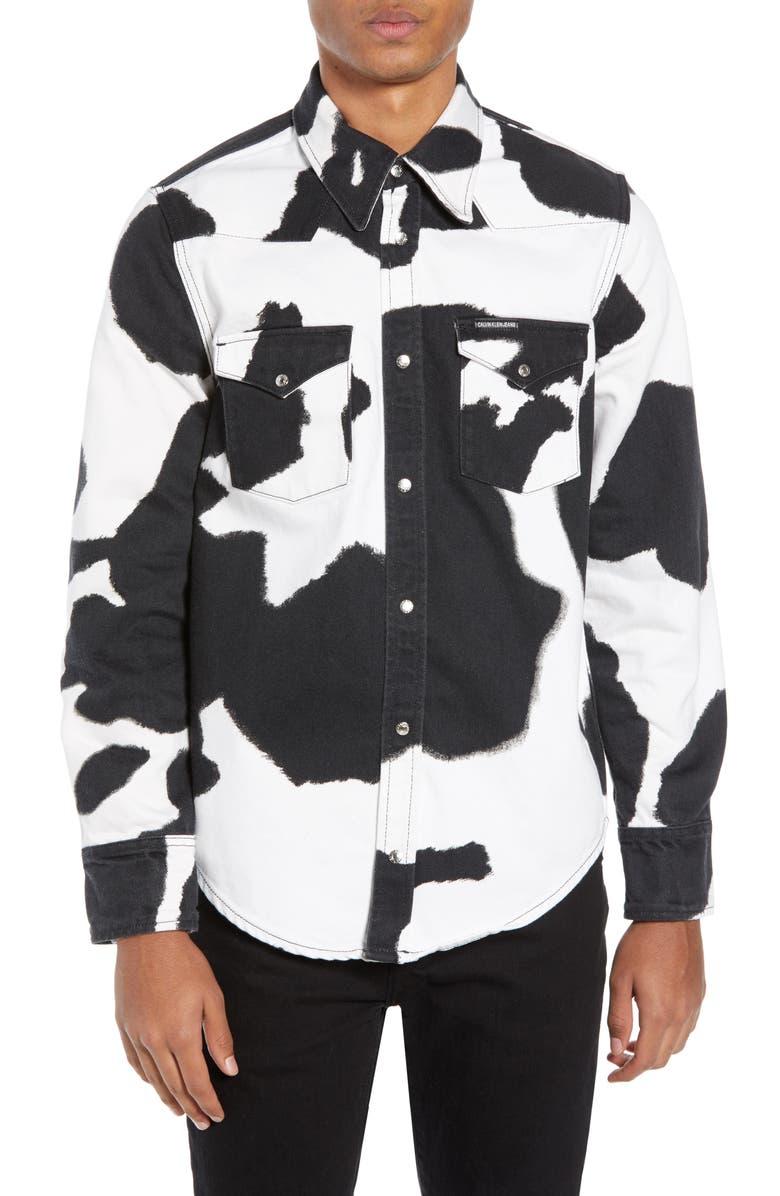 hämmästyttävä hinta laadukkaita tuotteita 100% aito Calvin Klein Jeans Cow Print Western Shirt   Nordstrom