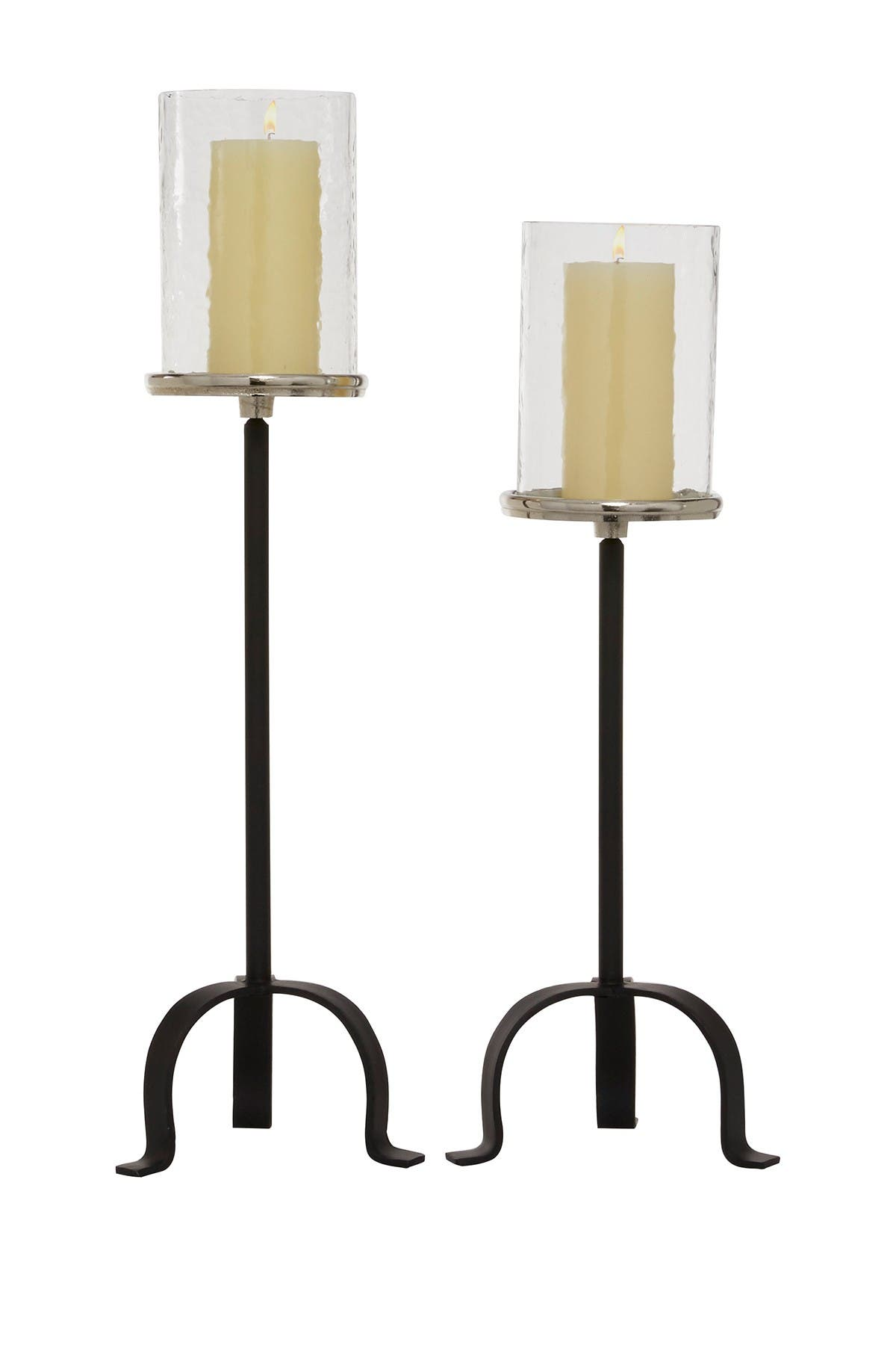 Willow Row Tall Modern Candle Holders With Glass Top And Black Metal Tripod Base Set Of 2 23 H 26 H Nordstrom Rack