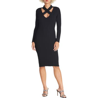 Rachel Rachel Roy Cross Neck Long Sleeve Sweater Dress, Black