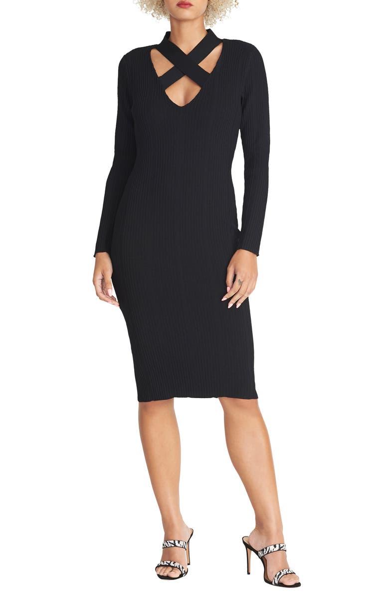 RACHEL RACHEL ROY Cross Neck Long Sleeve Sweater Dress, Main, color, 001
