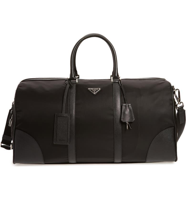 PRADA Nylon & Saffiano Leather Bowling Bag, Main, color, 001