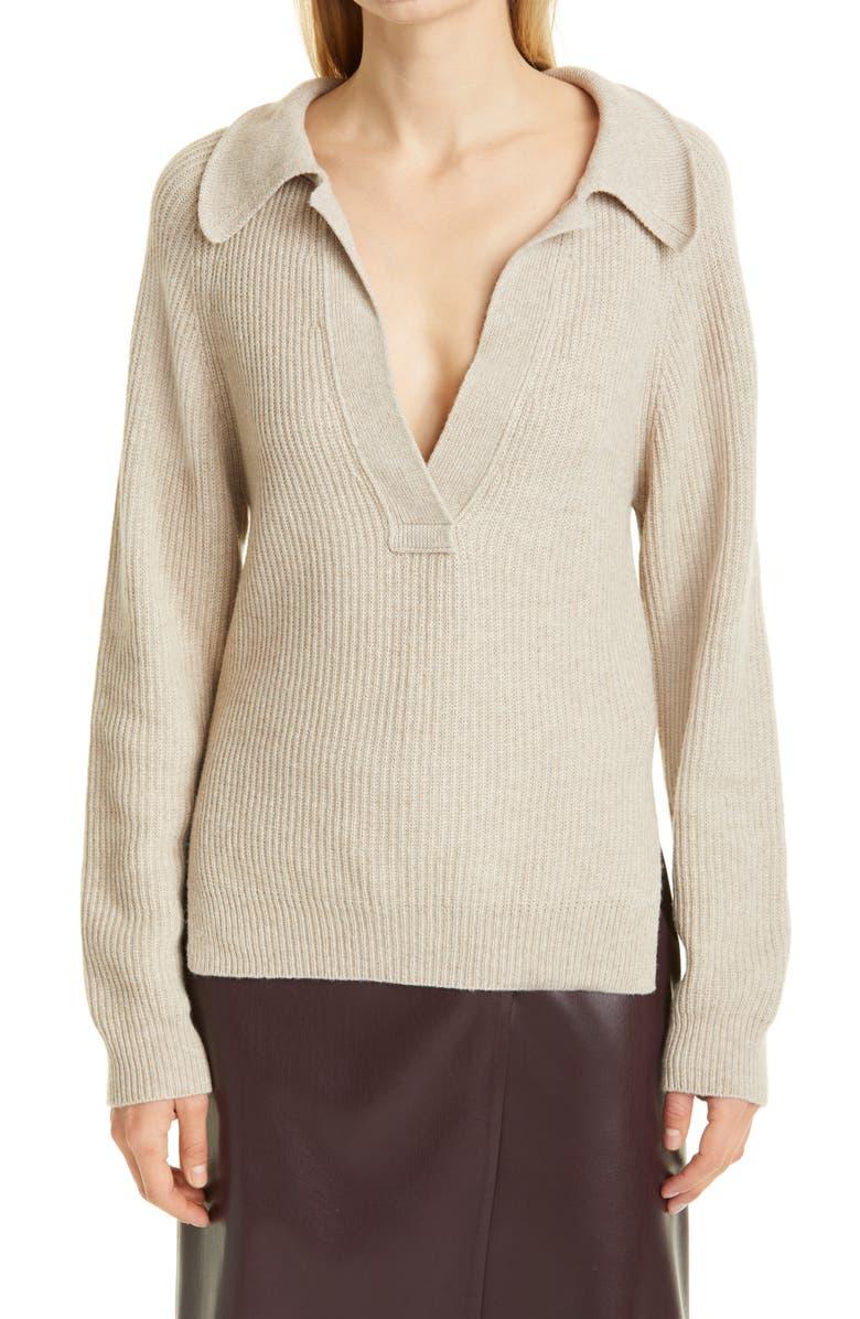 NANUSHKA Bambi Polo Neck Ribbed Sweater, Main, color, BEIGE