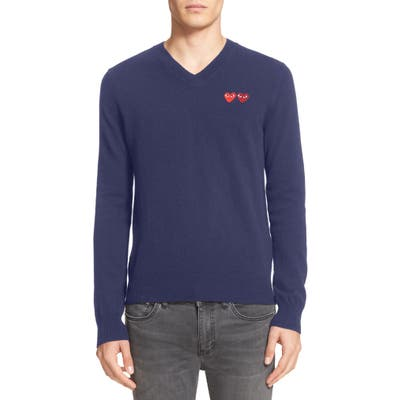 Comme Des Garcons Play Twin Hearts Wool V-Neck Sweater, Blue