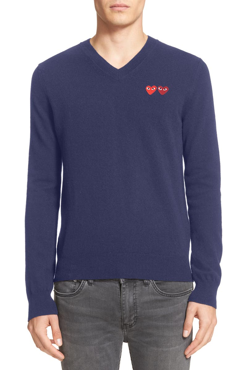 COMME DES GARÇONS PLAY Twin Hearts Wool V-Neck Sweater, Main, color, NAVY 2