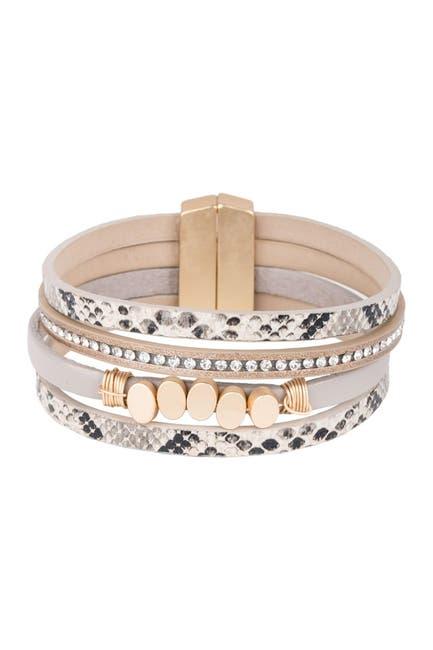 Image of Saachi Kaiser Beaded Leather Cuff Bracelet