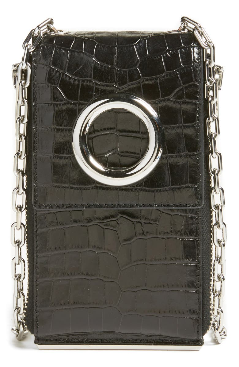 ALEXANDER WANG Riot Leather Wallet on a Chain, Main, color, 001