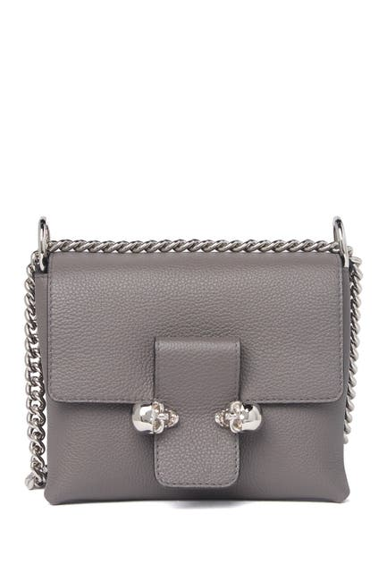 Image of Alexander McQueen Twin Skull Small Leather Chain Crossbody Bag