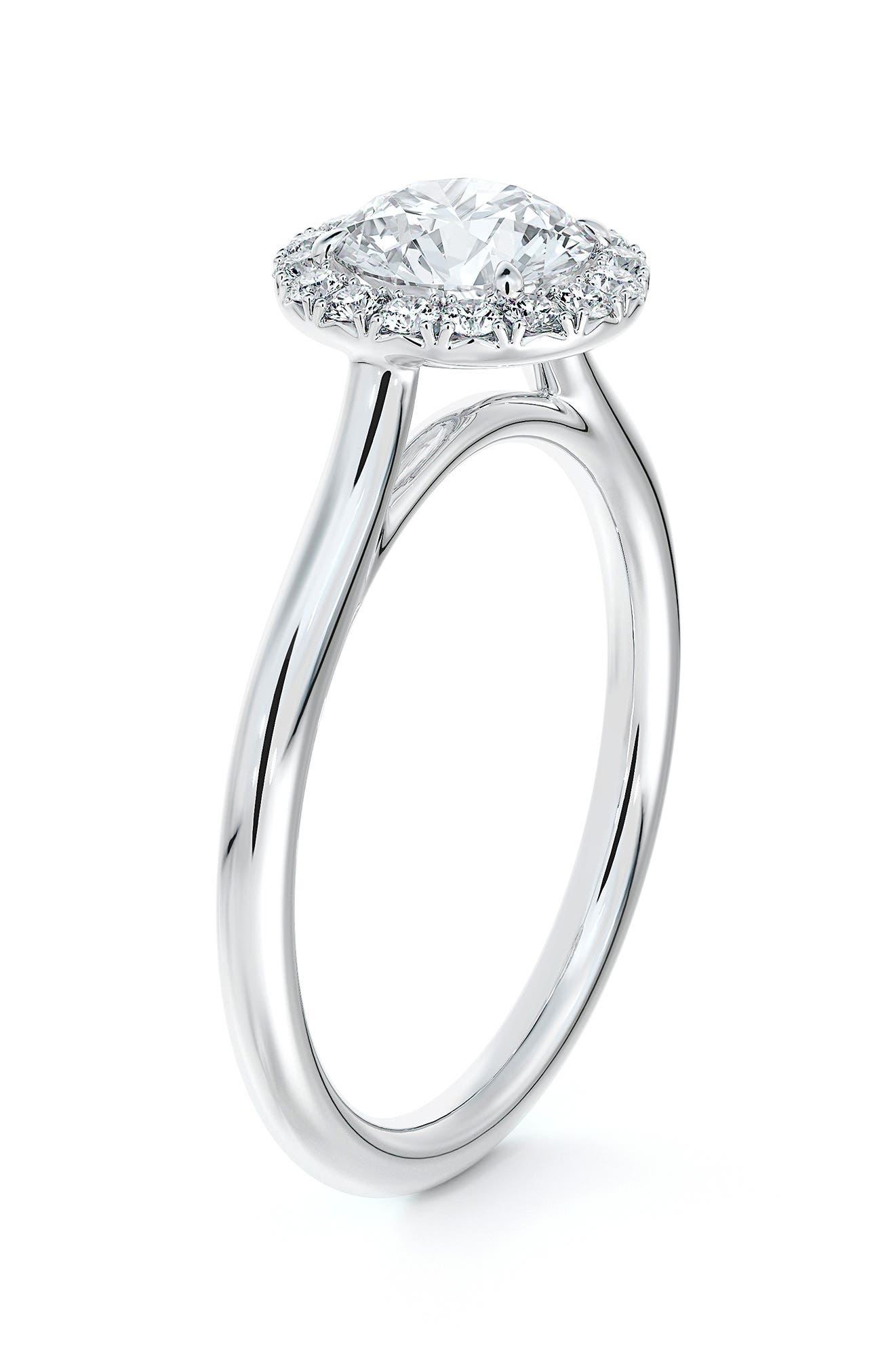 Center Of My Universe Round Halo Diamond Engagement Ring