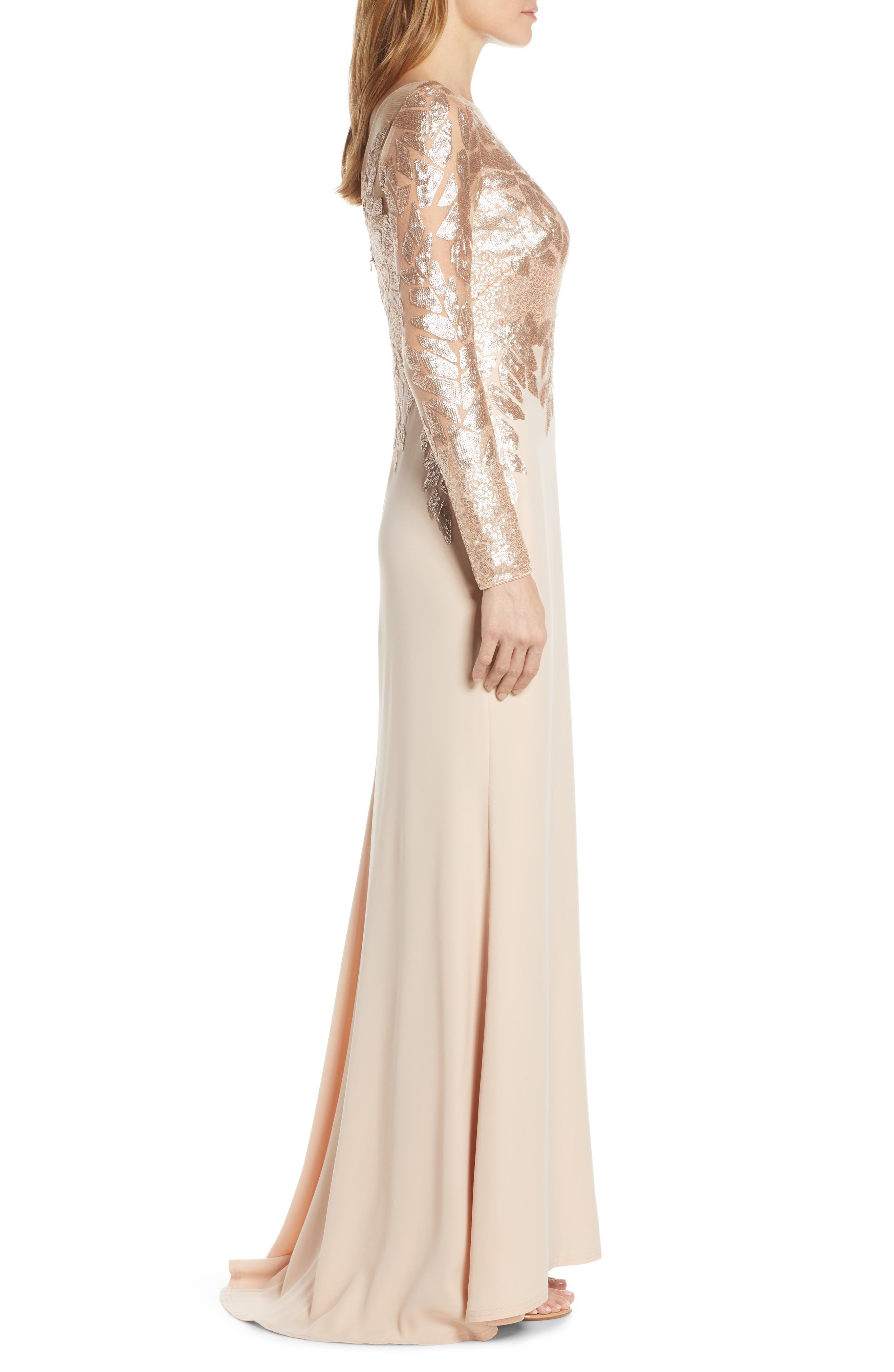 ,                             Sequin Embellished Gown,                             Alternate thumbnail 4, color,                             CHAMPAGNE