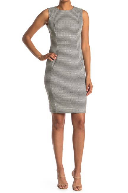 Image of Calvin Klein Geo Print Sleeveless Sheath Dress