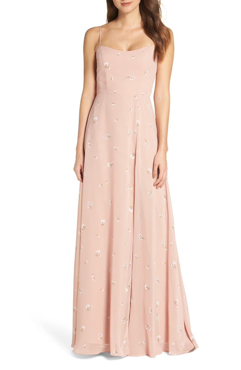 JENNY YOO Kiara Floral Print Chiffon Evening Gown, Main, color, WHIPPED APRICOT