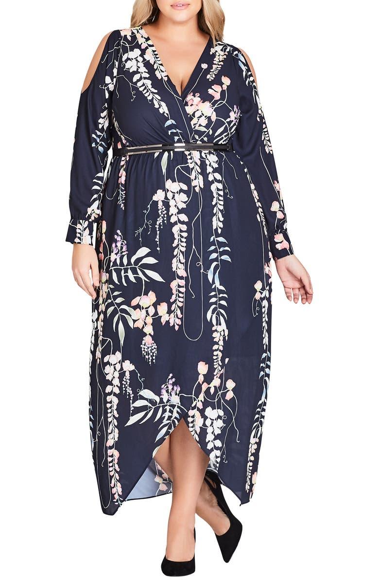 City Chic Hothouse Vine Cold Shoulder Maxi Dress (Plus Size ...