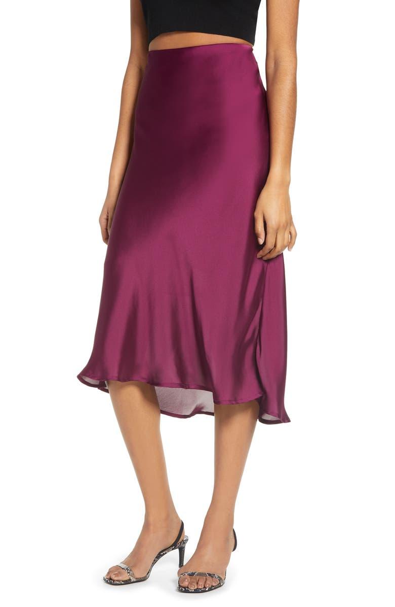 LEITH Satin Midi Skirt, Main, color, MAGENTA PURPLE