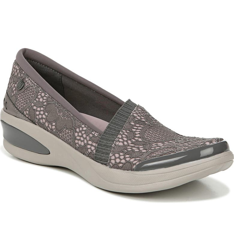 BZEES Flirty Slip-On Wedge Sneaker, Main, color, DARK GREY FLORAL LACE FABRIC