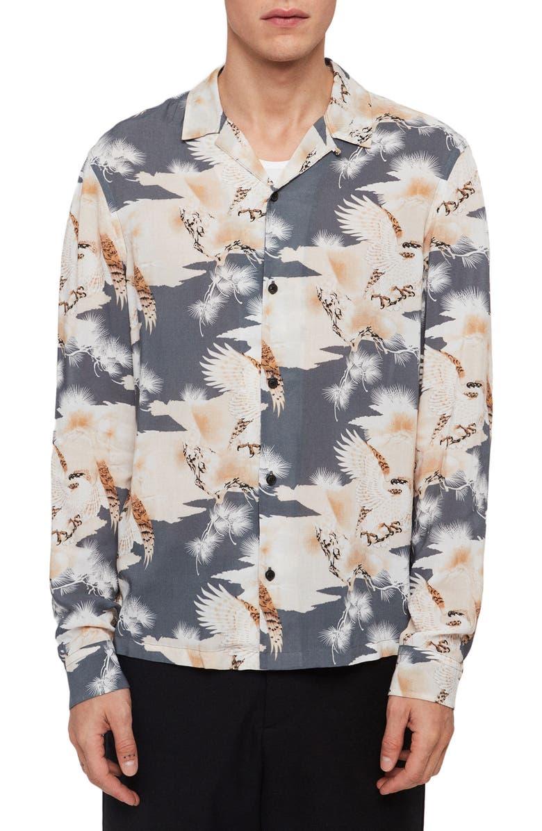 ALLSAINTS Talon Slim Fit Button-Up Shirt, Main, color, DARK BLUE