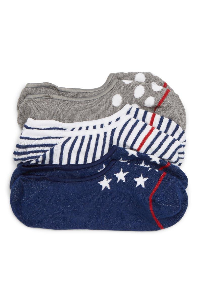 TUCKER + TATE Assorted 3-Pack Sneaker Liner Socks, Main, color, 412