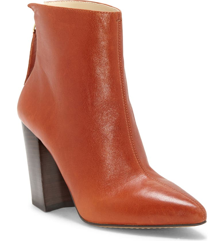 VINCE CAMUTO Saavie Bootie, Main, color, BURNT AMBER LEATHER