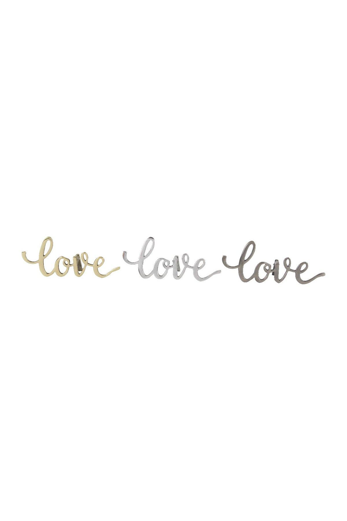 Image of CosmoLiving by Cosmopolitan Contemporary Aluminum Cursive Love Sign - Set of 3