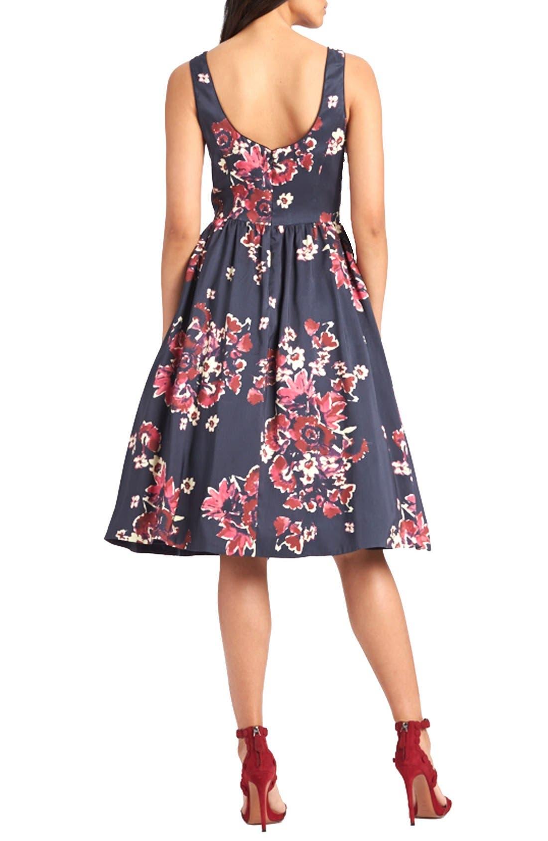 ,                             Print Cotton Blend Midi Dress,                             Alternate thumbnail 2, color,                             400