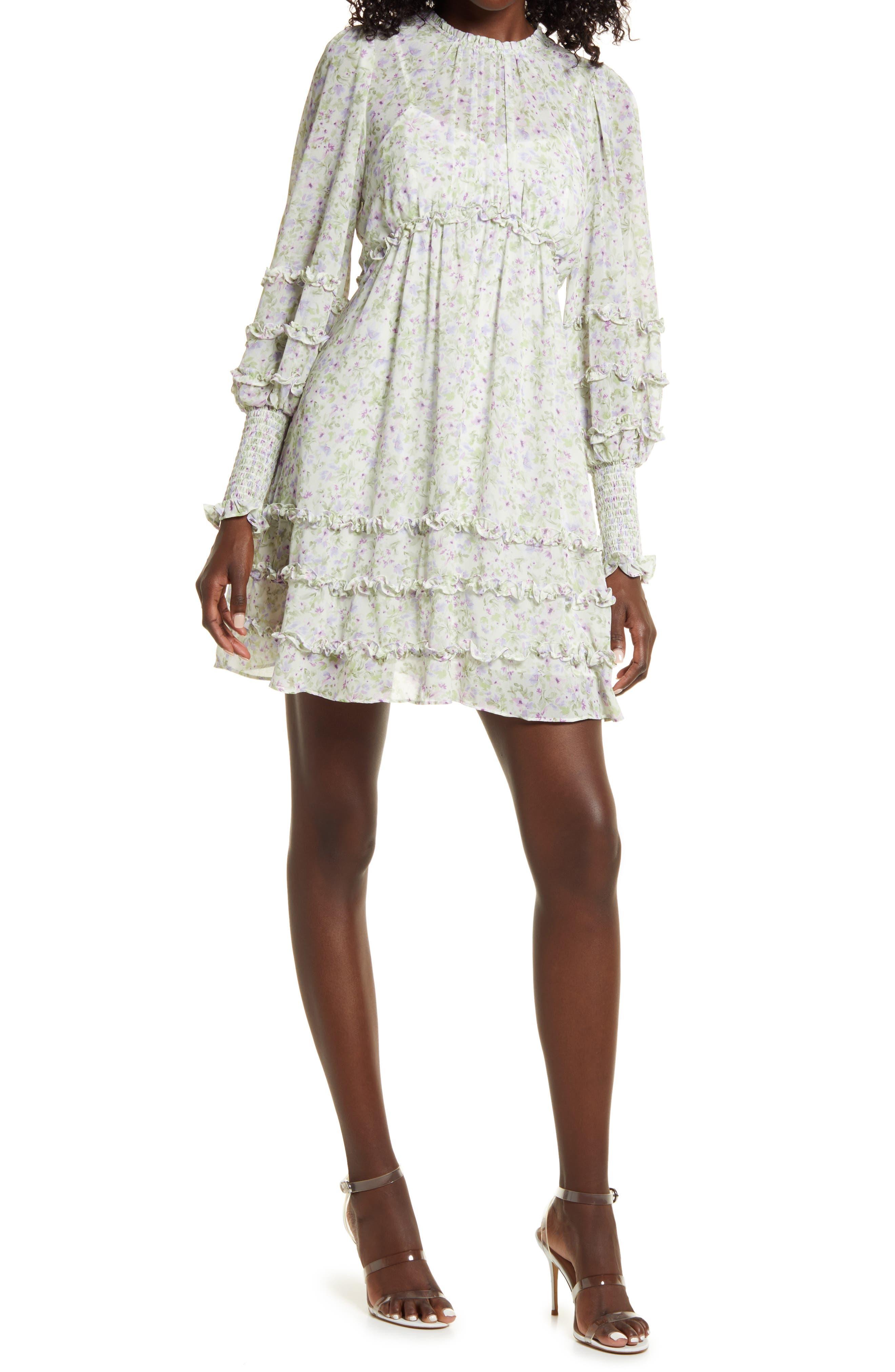 Floral & Ruffle Long Sleeve Minidress