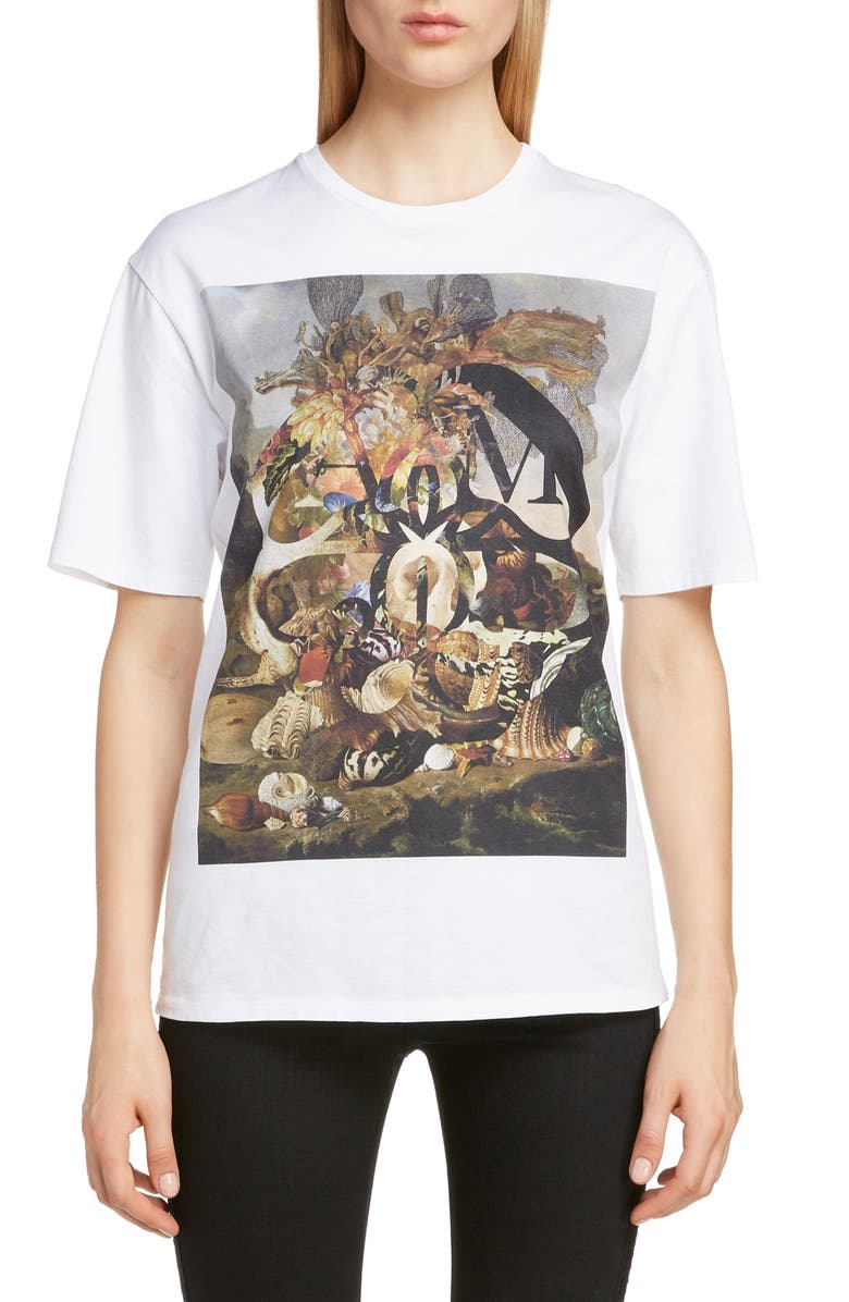 ALEXANDER MCQUEEN Aquatic Logo Graphic Tee, Main, color, 100