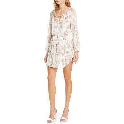 Loveshackfancy Popover Floral Long Sleeve Silk Minidress, Ivory