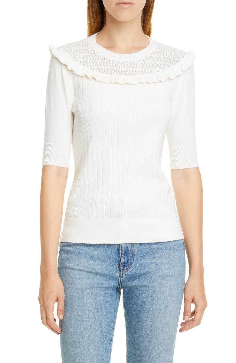 VICTOR GLEMAUD Short Sleeve Knit Cotton & Cashmere Top, Main, color, 100