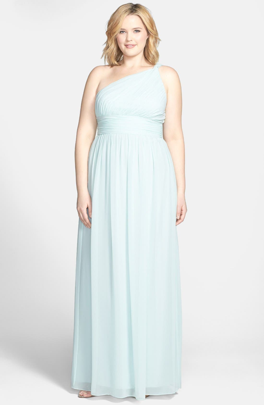 ,                             'Rachel' Ruched One-Shoulder Chiffon Gown,                             Alternate thumbnail 54, color,                             338