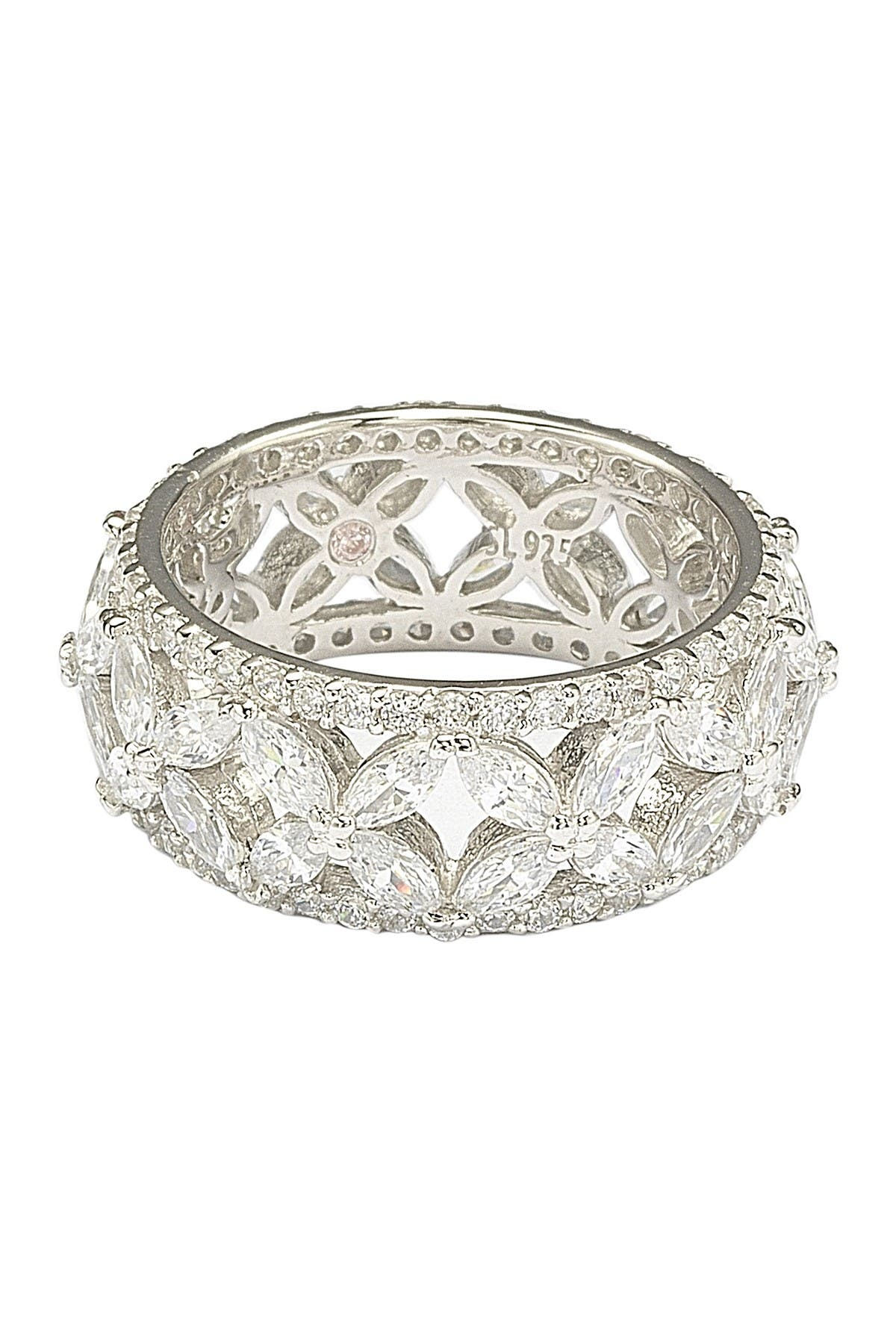 Image of Suzy Levian Sterling Silver CZ Cutout Flower Ring