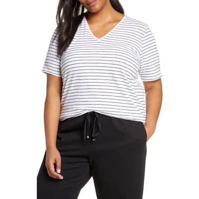 Plus Size Eileen Fisher Organic Cotton Short Sleeve Top, White