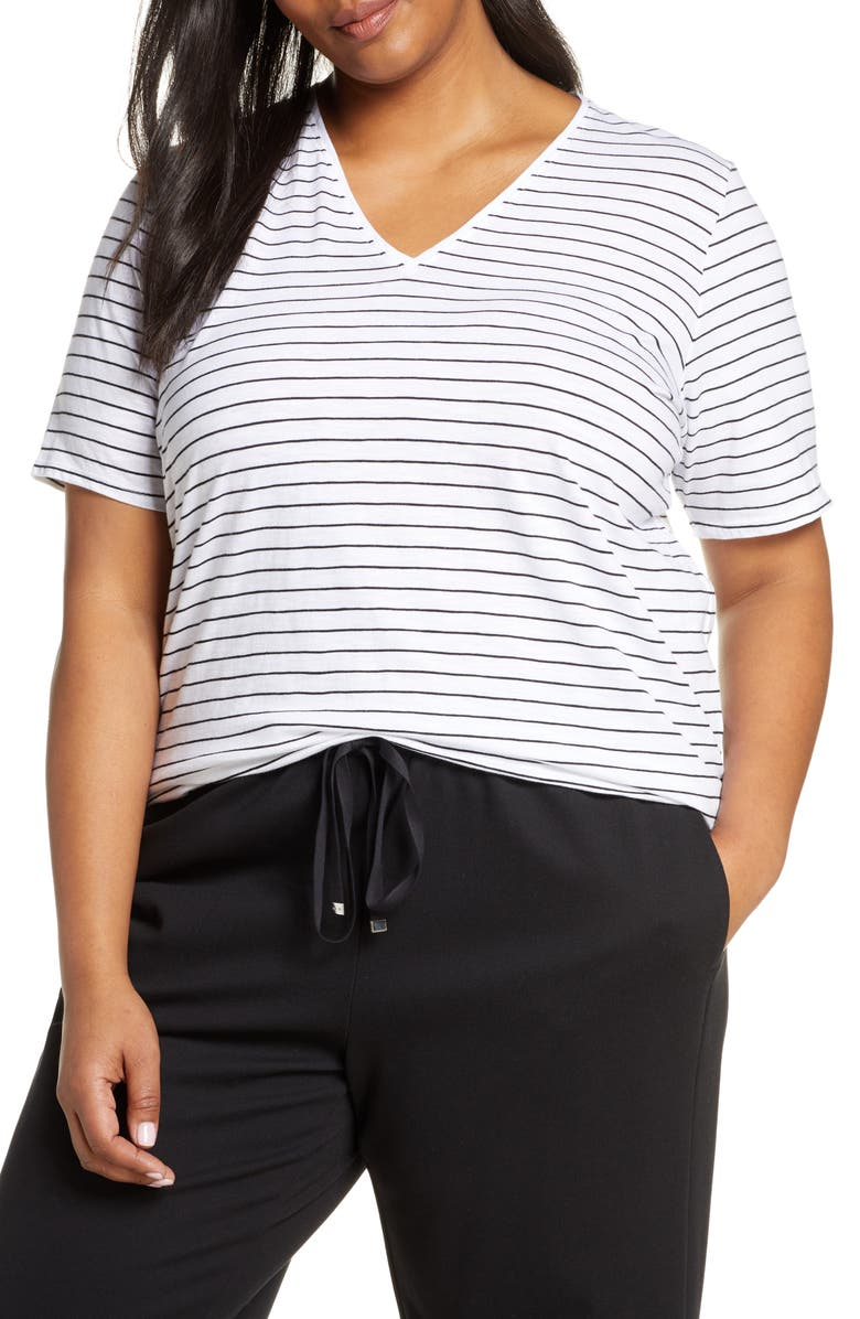 Eileen Fisher Organic Cotton Short Sleeve Top Plus Size