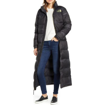 The North Face Nuptse Long Water-Resistant Down Coat, Black