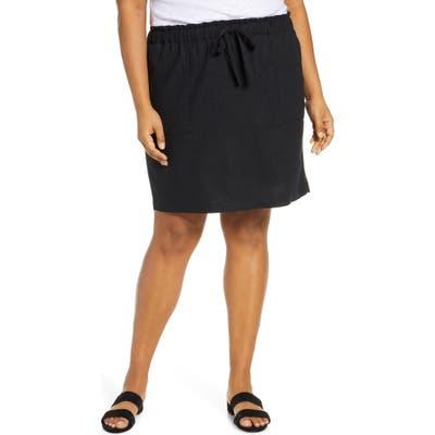 Plus Size Caslon Paperbag Waist Linen Blend Skirt, Black