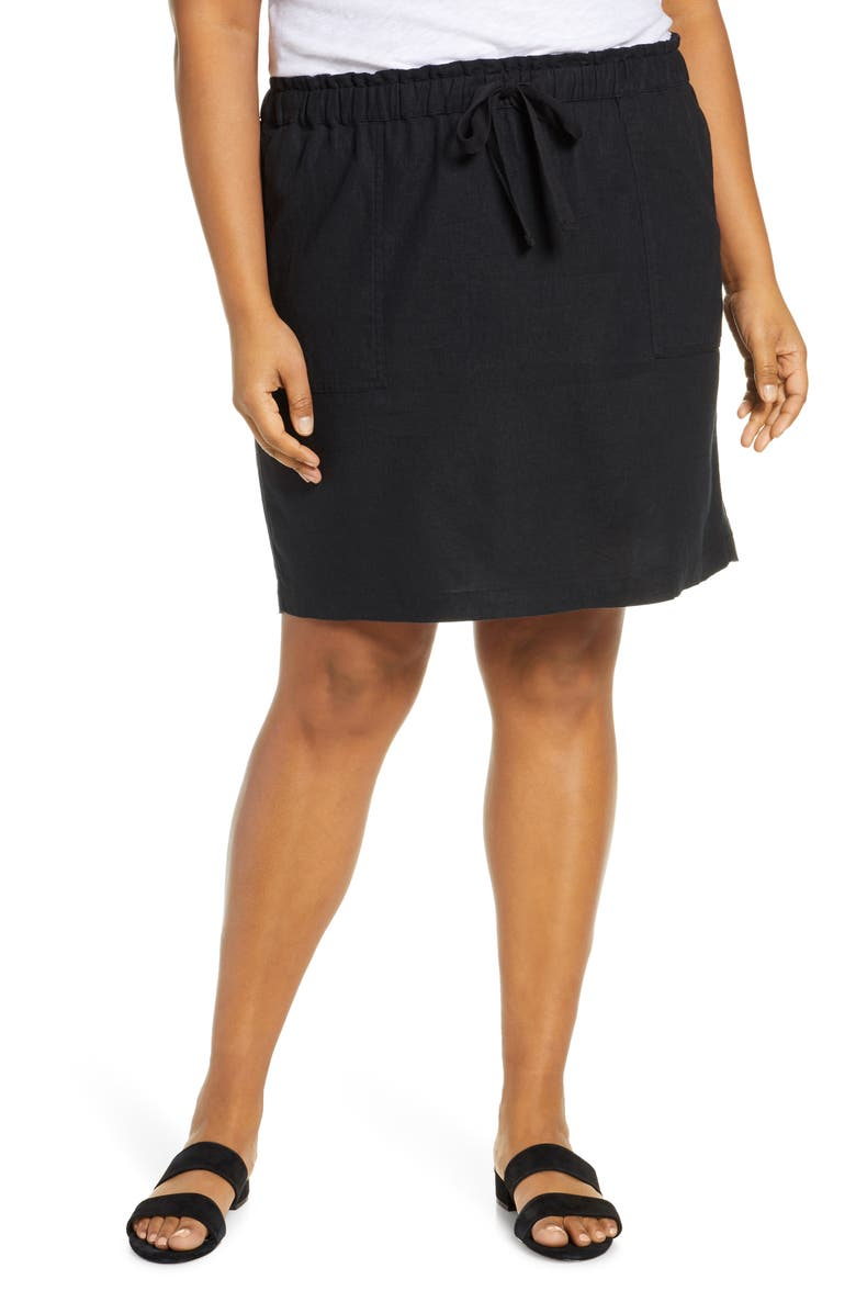 CASLON<SUP>®</SUP> Paperbag Waist Linen Blend Skirt, Main, color, 001