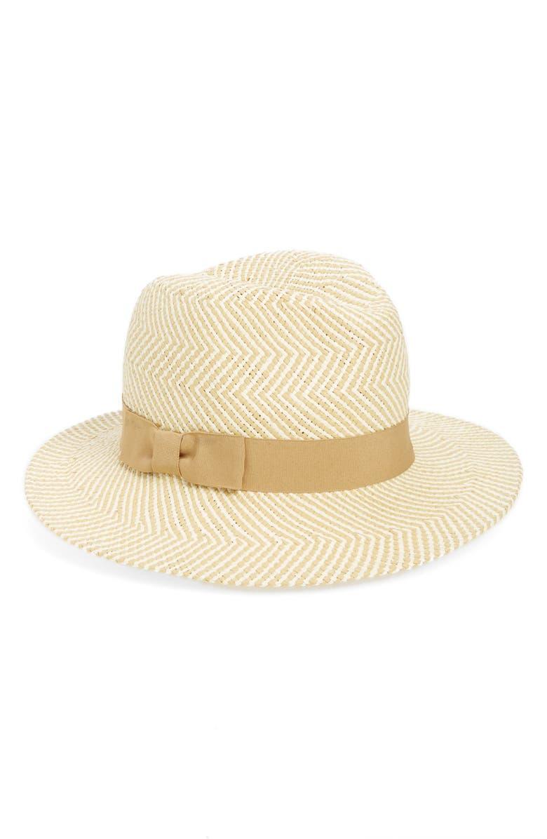HALOGEN<SUP>®</SUP> Halogen Zigzag Straw Panama Hat, Main, color, 235