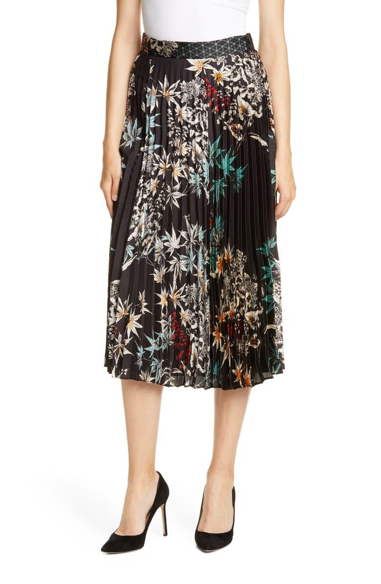 JUDITH & CHARLES Luminism Pleated Skirt, Main, color, BLACK PRINT