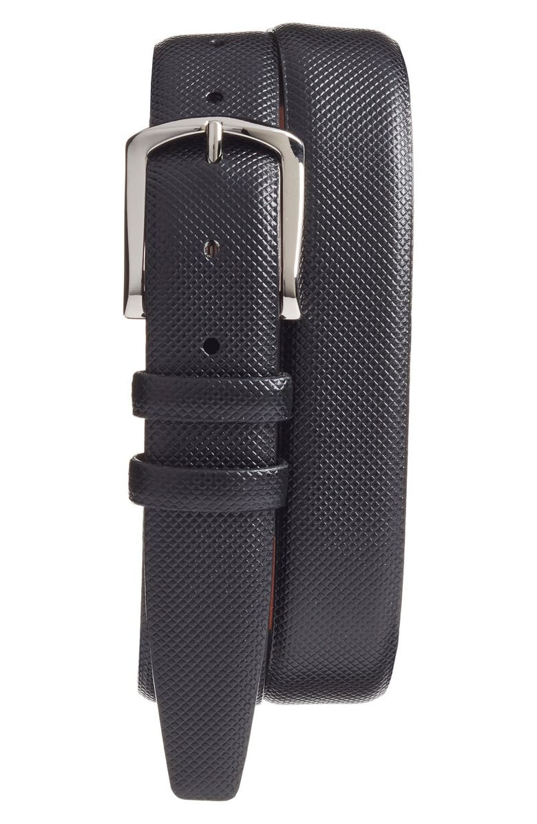 TORINO Bulgaro Calfskin Leather Belt, Main, color, BLACK