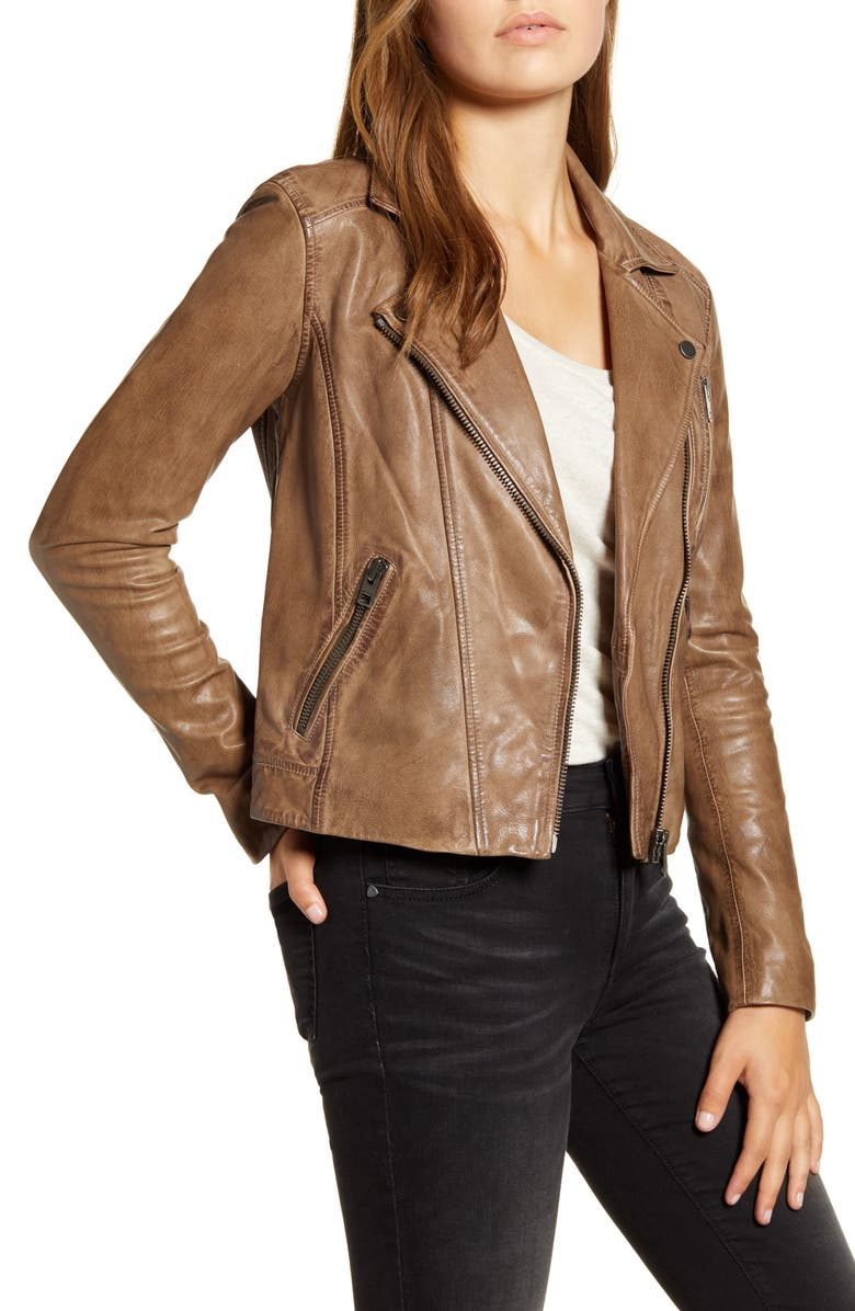 LUCKY BRAND Worn Leather Moto Jacket, Main, color, 200