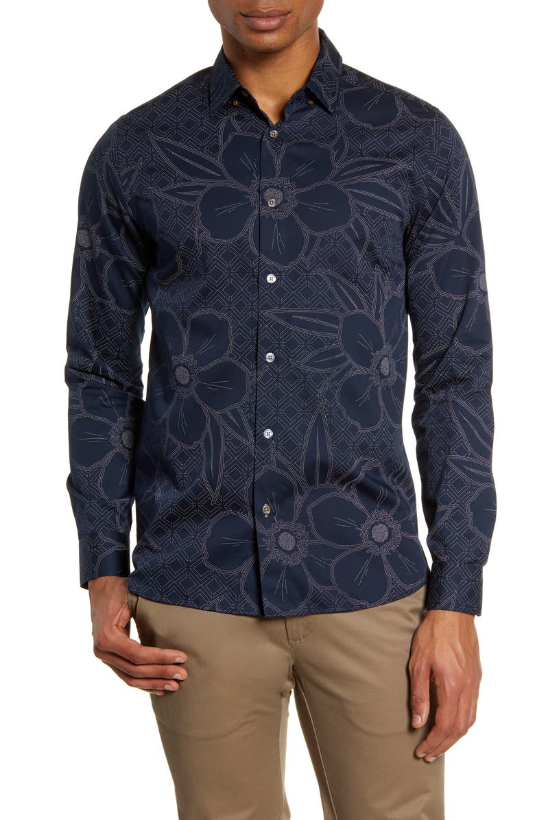 TED BAKER LONDON Gogirl Slim Fit Floral Button-Up Shirt, Main, color, NAVY