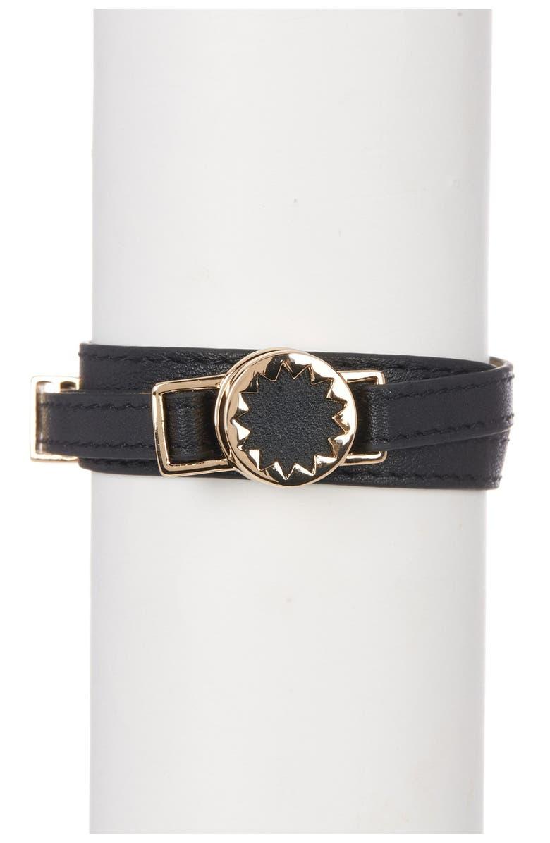 HOUSE OF HARLOW 1960 Sunburst Leather Wrap Bracelet, Main, color, 750