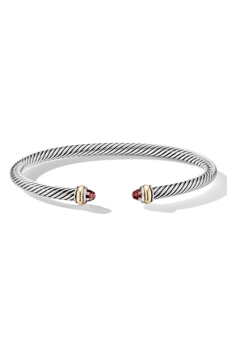 DAVID YURMAN 4mm Cable Classic Bracelet with 18K Gold & Semiprecious Stones, Main, color, GARNET