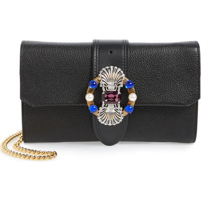 Miu Miu Madras Convertible Leather Clutch -