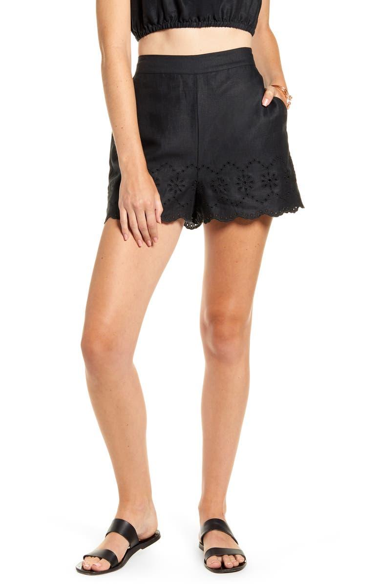 RACHEL PARCELL Eyelet Linen Shorts, Main, color, BLACK