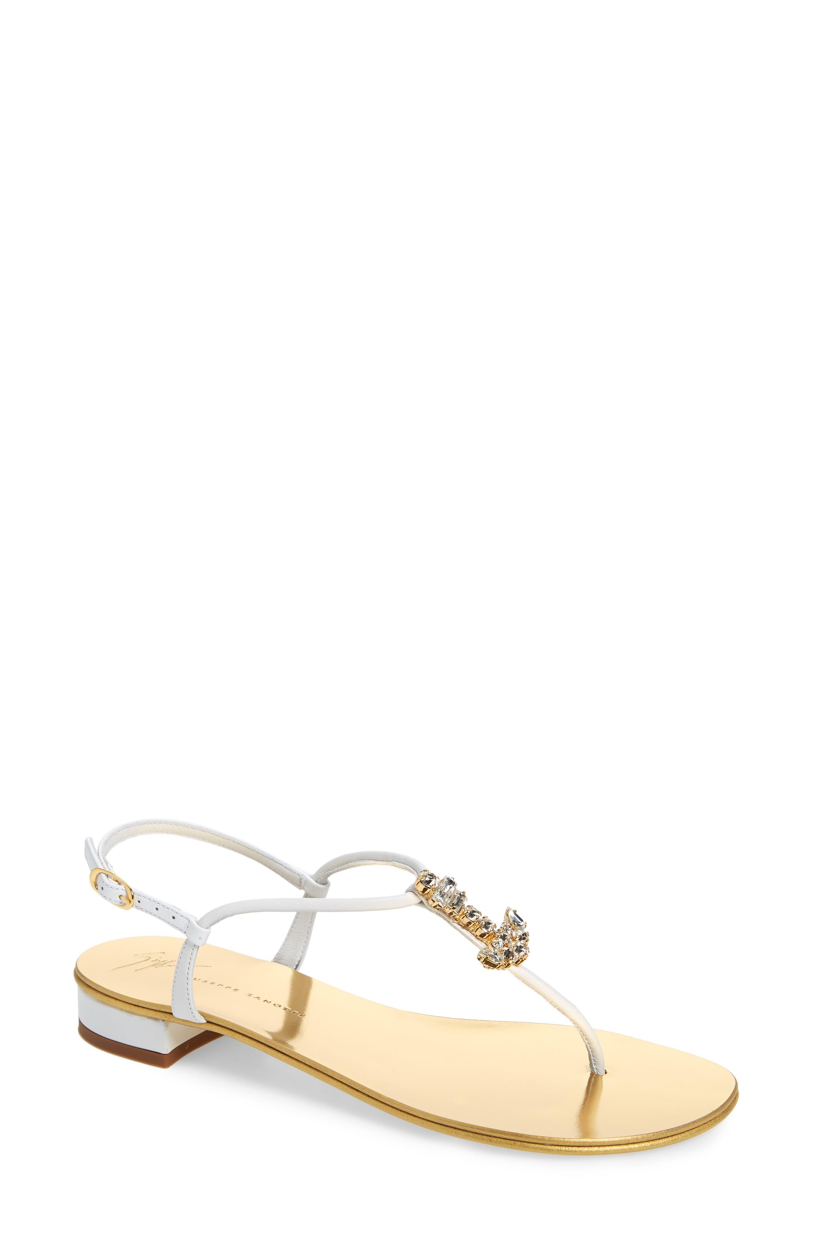 Giuseppe Zanotti Anchor Crystal Embellished Thong Sandal- White