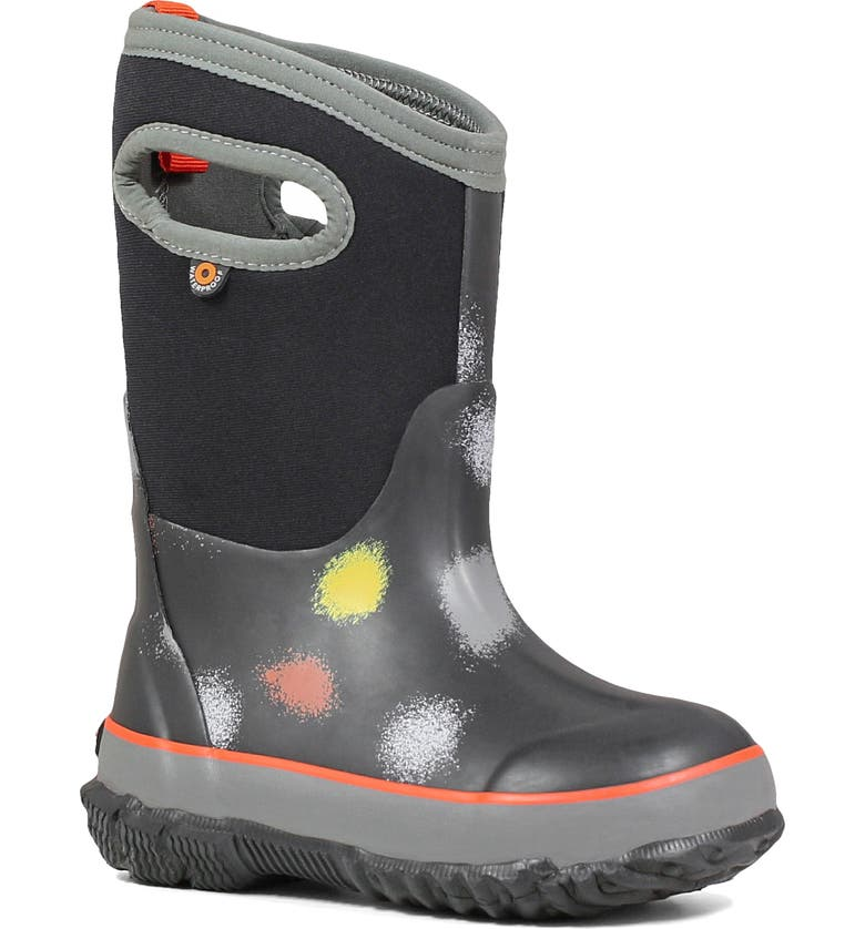 BOGS Classic Fun Print Insulated Waterproof Boot, Main, color, BLACK MULTI